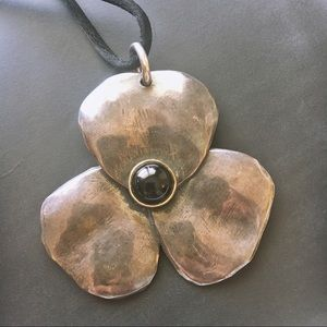 Retired Silver Pansy Pendant 14k gold, onyx center